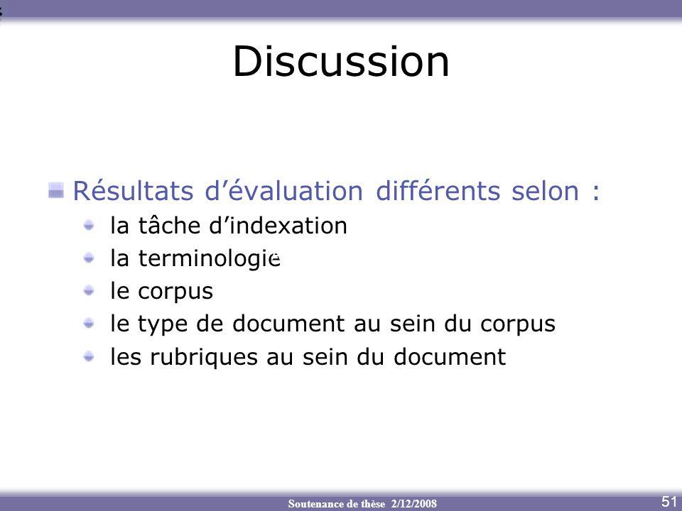 Soutenance de thèse 2/12/2008 Discussion Résultats dévaluation différents selon : la tâche dindexation la terminologie le corpus le type de document a