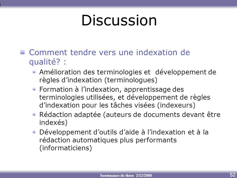 Soutenance de thèse 2/12/2008 Discussion Aide au transcodage 52 Comment tendre vers une indexation de qualité? : Amélioration des terminologies et dév