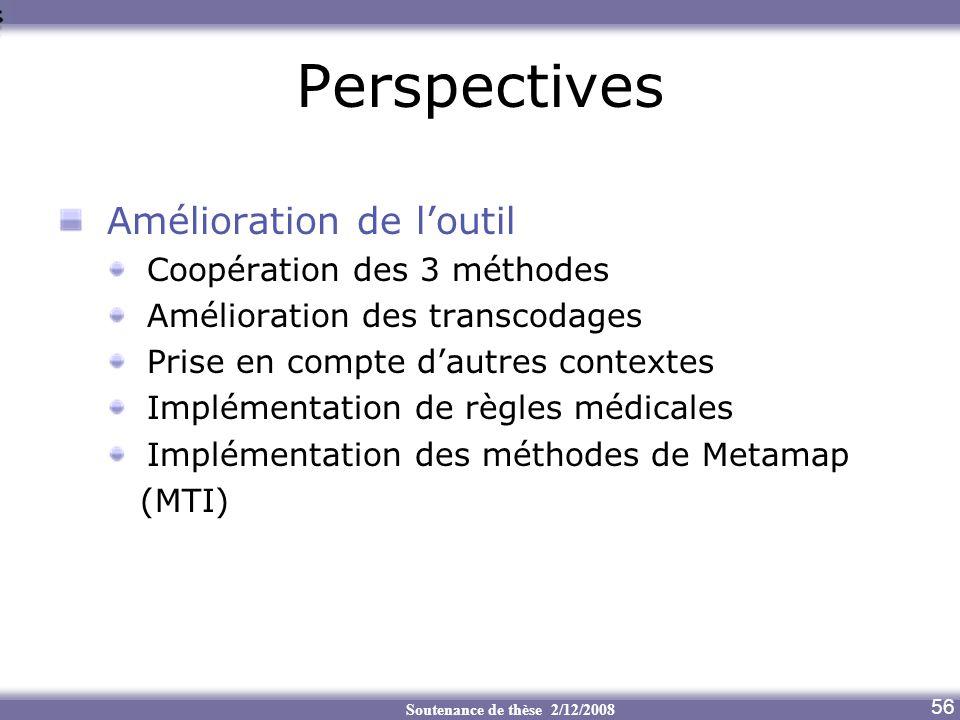 Soutenance de thèse 2/12/2008 Perspectives Amélioration de loutil Coopération des 3 méthodes Amélioration des transcodages Prise en compte dautres con