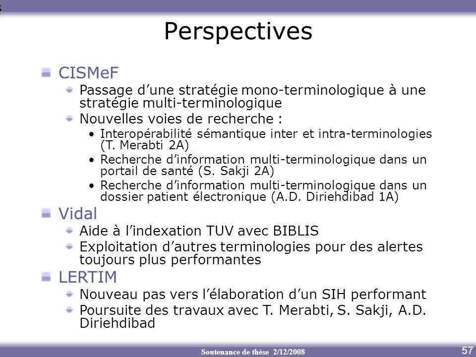 Soutenance de thèse 2/12/2008 Perspectives Aide au transcodage 57 CISMeF Passage dune stratégie mono-terminologique à une stratégie multi-terminologiq