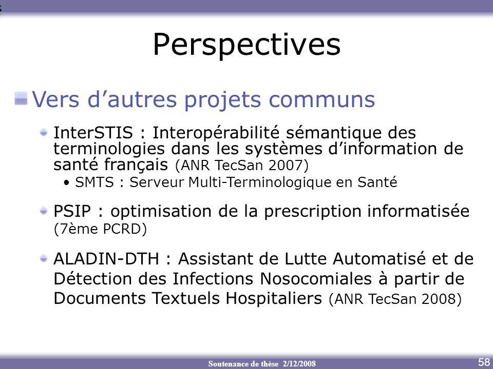 Soutenance de thèse 2/12/2008 Perspectives Aide au transcodage 58 Vers dautres projets communs InterSTIS : Interopérabilité sémantique des terminologi