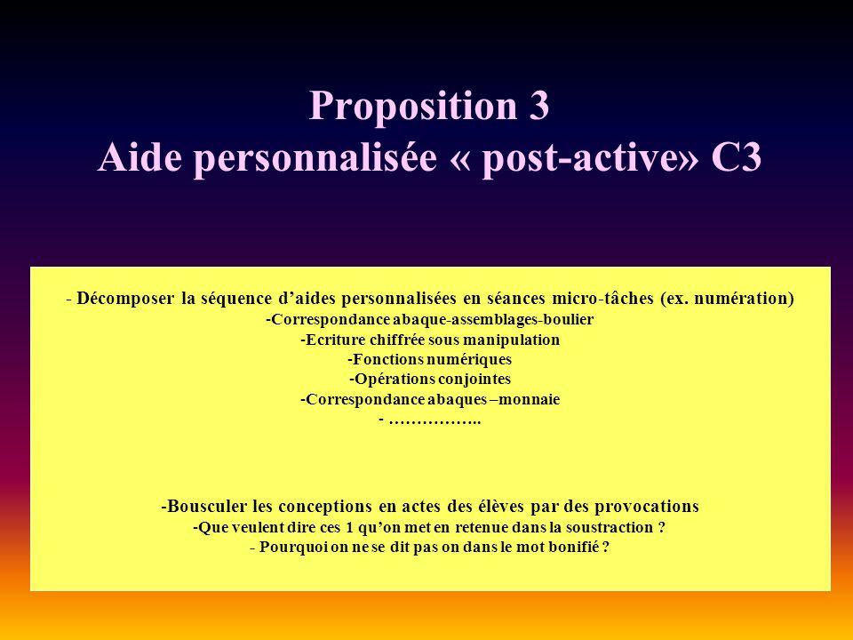 Proposition 3 Aide personnalisée « post-active» C3 - Décomposer la séquence daides personnalisées en séances micro-tâches (ex. numération) -Correspond