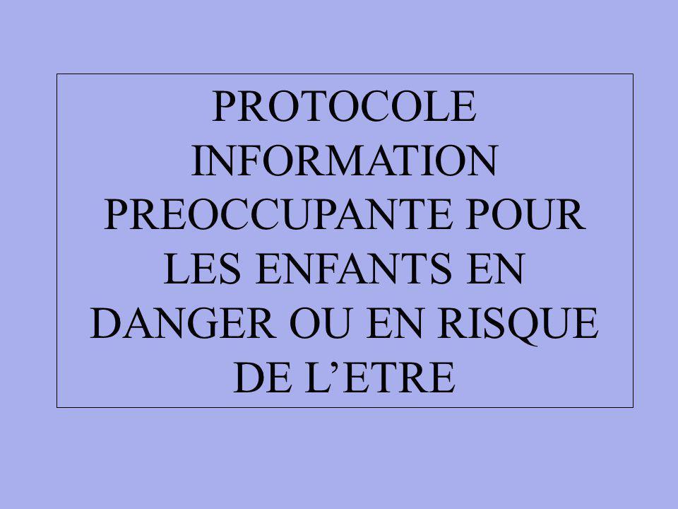 PROTOCOLE INFORMATION PREOCCUPANTE POUR LES ENFANTS EN DANGER OU EN RISQUE DE LETRE