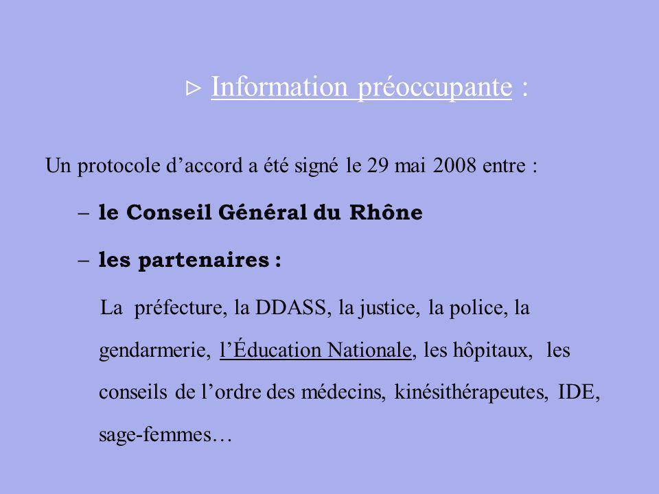 Information préoccupante : Un protocole daccord a été signé le 29 mai 2008 entre : – le Conseil Général du Rhône – les partenaires : La préfecture, la DDASS, la justice, la police, la gendarmerie, lÉducation Nationale, les hôpitaux, les conseils de lordre des médecins, kinésithérapeutes, IDE, sage-femmes…
