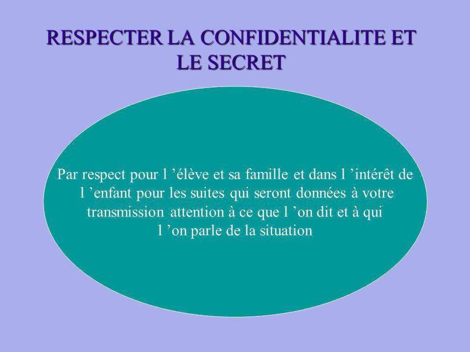RESPECTER LA CONFIDENTIALITE ET LE SECRET. Par respect pour l élève et sa famille et dans l intérêt de l enfant pour les suites qui seront données à v