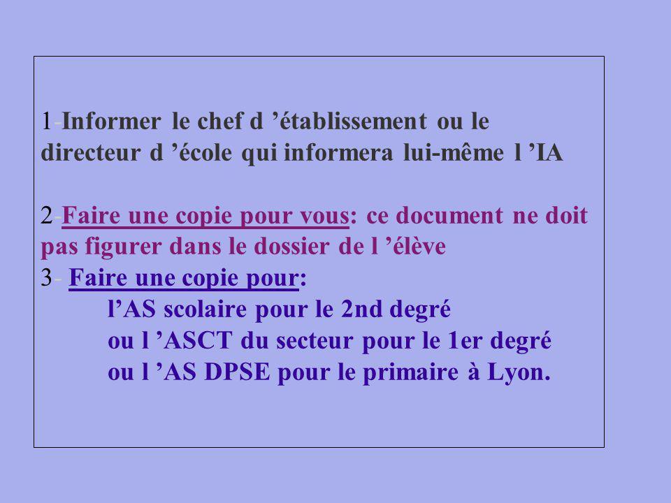 1-Informer le chef d établissement ou le directeur d école qui informera lui-même l IA 2-Faire une copie pour vous: ce document ne doit pas figurer dans le dossier de l élève 3- Faire une copie pour: lAS scolaire pour le 2nd degré ou l ASCT du secteur pour le 1er degré ou l AS DPSE pour le primaire à Lyon.