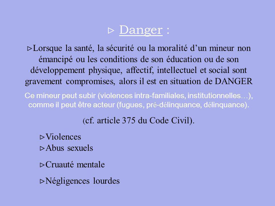 Danger : Lorsque la santé, la sécurité ou la moralité dun mineur non émancipé ou les conditions de son éducation ou de son développement physique, aff