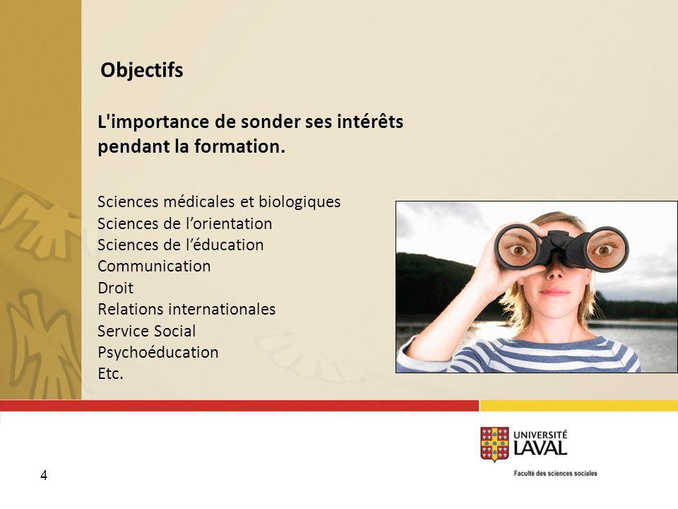 4 Objectifs L'importance de sonder ses intérêts pendant la formation. Sciences médicales et biologiques Sciences de lorientation Sciences de léducatio