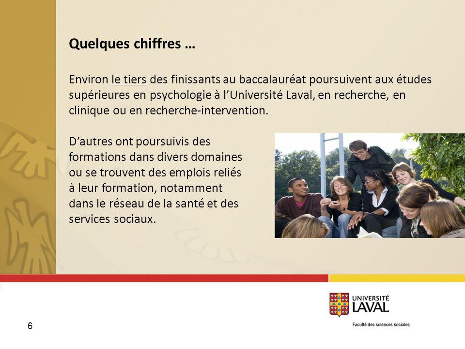 6 Quelques chiffres … Environ le tiers des finissants au baccalauréat poursuivent aux études supérieures en psychologie à lUniversité Laval, en recher