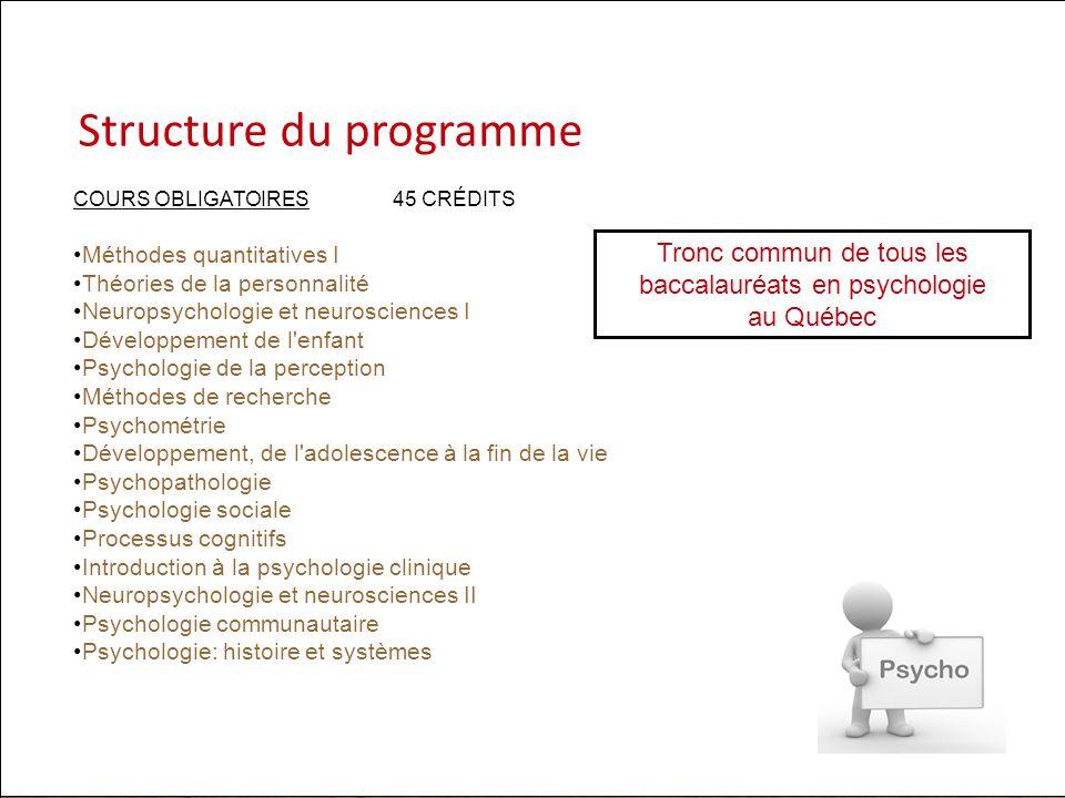 Structure du programme COURS OBLIGATOIRES45 CRÉDITS Méthodes quantitatives I Théories de la personnalité Neuropsychologie et neurosciences I Développe