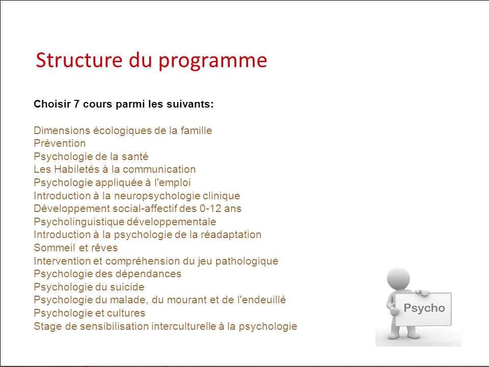 Choisir 7 cours parmi les suivants: Dimensions écologiques de la famille Prévention Psychologie de la santé Les Habiletés à la communication Psycholog