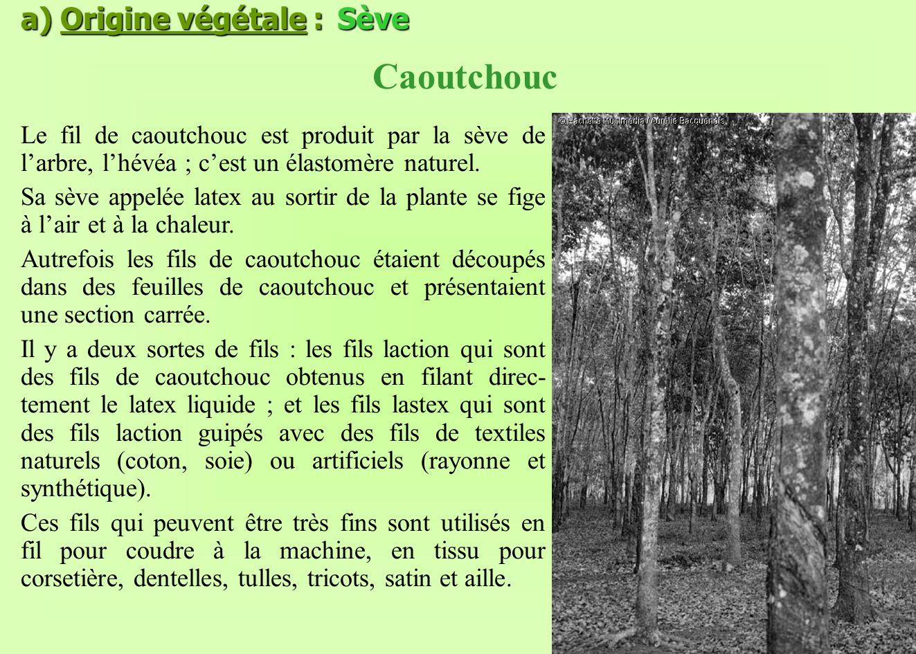 a) Origine végétale : Sève Caoutchouc Le fil de caoutchouc est produit par la sève de larbre, lhévéa ; cest un élastomère naturel. Sa sève appelée lat