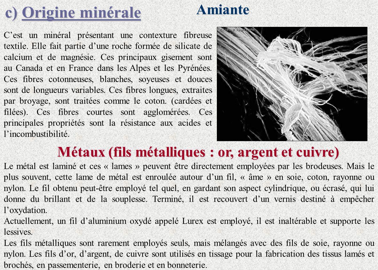 c)Origine minérale c) Origine minéraleAmiante Métaux (fils métalliques : or, argent et cuivre) Cest un minéral présentant une contexture fibreuse text