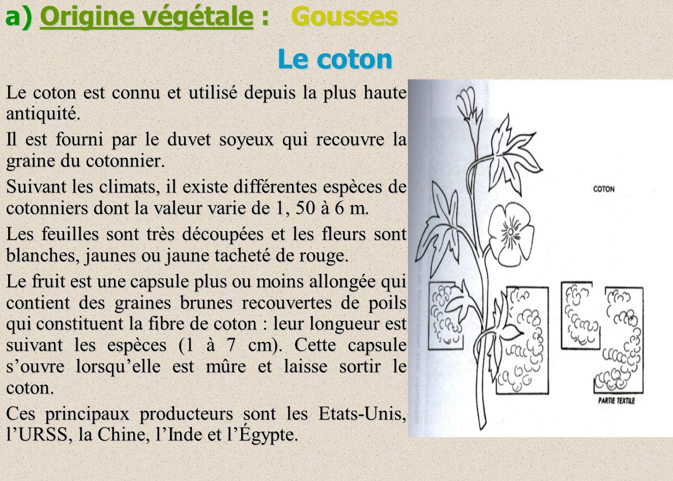 Le coton Le coton est connu et utilisé depuis la plus haute antiquité. Il est fourni par le duvet soyeux qui recouvre la graine du cotonnier. Suivant