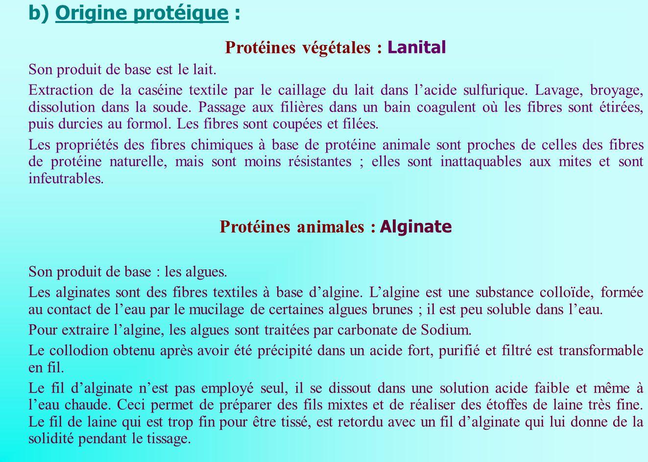 b) Origine protéique : Protéines végétales : Lanital Son produit de base est le lait. Extraction de la caséine textile par le caillage du lait dans la