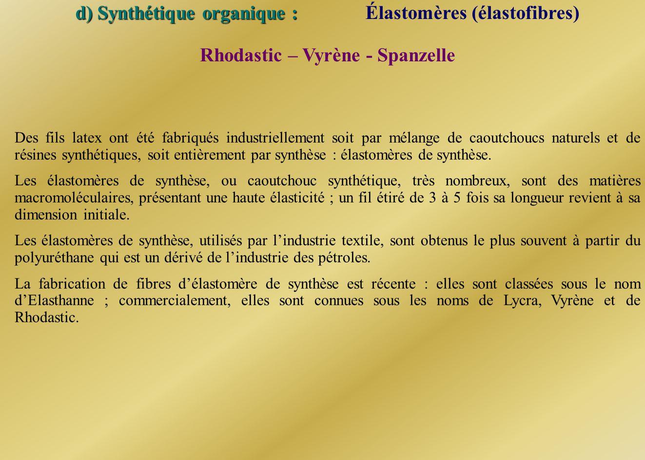d) Synthétique organique : Élastomères (élastofibres) Des fils latex ont été fabriqués industriellement soit par mélange de caoutchoucs naturels et de