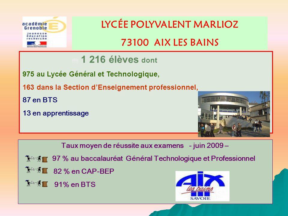 LYCÉE POLYVALENT MARLIOZ 73100 AIX LES BAINS Taux moyen de réussite aux examens - juin 2009 – 97 % au baccalauréat Général Technologique et Profession