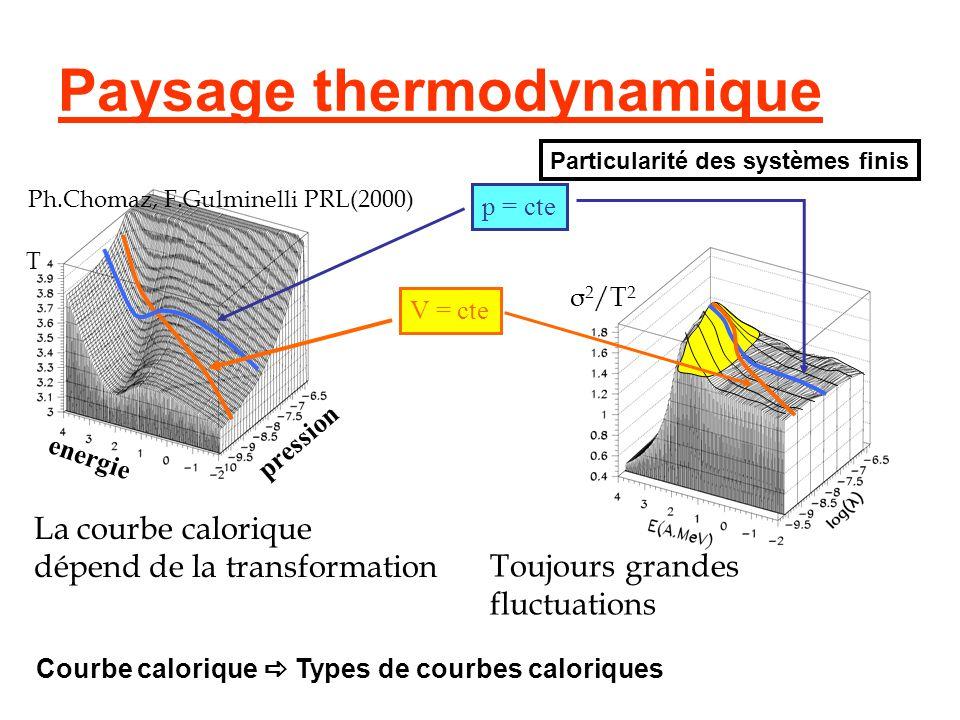 Paysage thermodynamique T σ 2 /T 2 p = cte V = cte La courbe calorique dépend de la transformation Toujours grandes fluctuations Ph.Chomaz, F.Gulminel