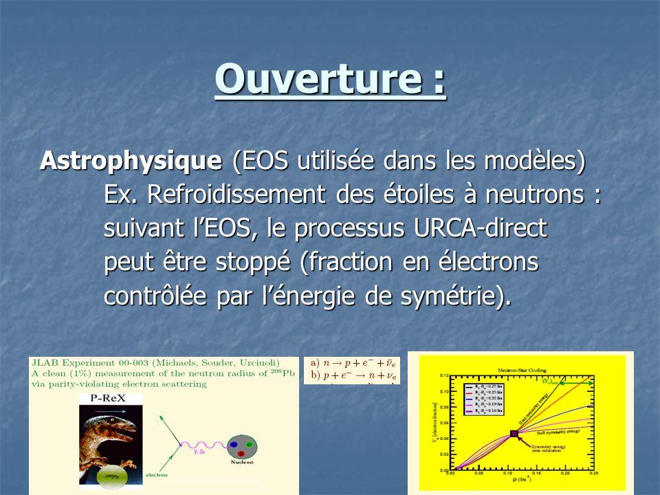 Ouverture : Astrophysique (EOS utilisée dans les modèles) Ex. Refroidissement des étoiles à neutrons : Ex. Refroidissement des étoiles à neutrons : su