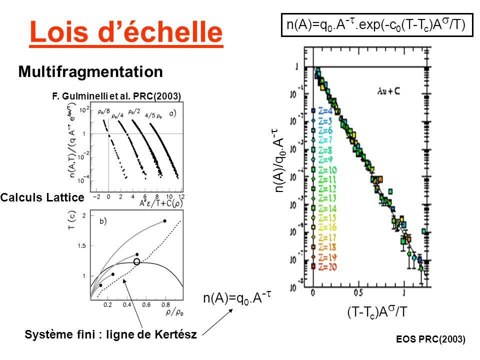 Lois déchelle EOS PRC(2003) n(A)=q 0.A -.exp(-c 0 (T-T c )A /T) Multifragmentation n(A)/q 0.A - (T-T c )A /T Système fini : ligne de Kertész n(A)=q 0.