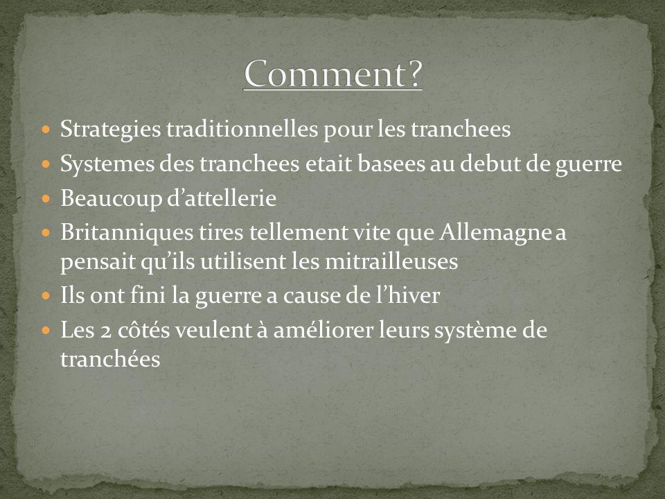 Strategies traditionnelles pour les tranchees Systemes des tranchees etait basees au debut de guerre Beaucoup dattellerie Britanniques tires tellement