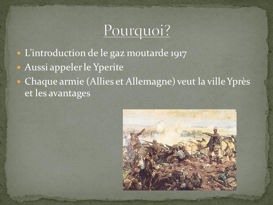 Lintroduction de le gaz moutarde 1917 Aussi appeler le Yperite Chaque armie (Allies et Allemagne) veut la ville Yprès et les avantages