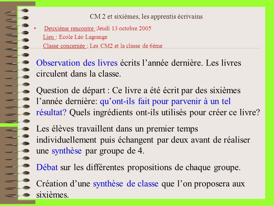 CM 2 et sixièmes, les apprentis écrivains Deuxième rencontre :Jeudi 13 octobre 2005 Lieu : Ecole Léo Lagrange Classe concernée : Les CM2 et la classe
