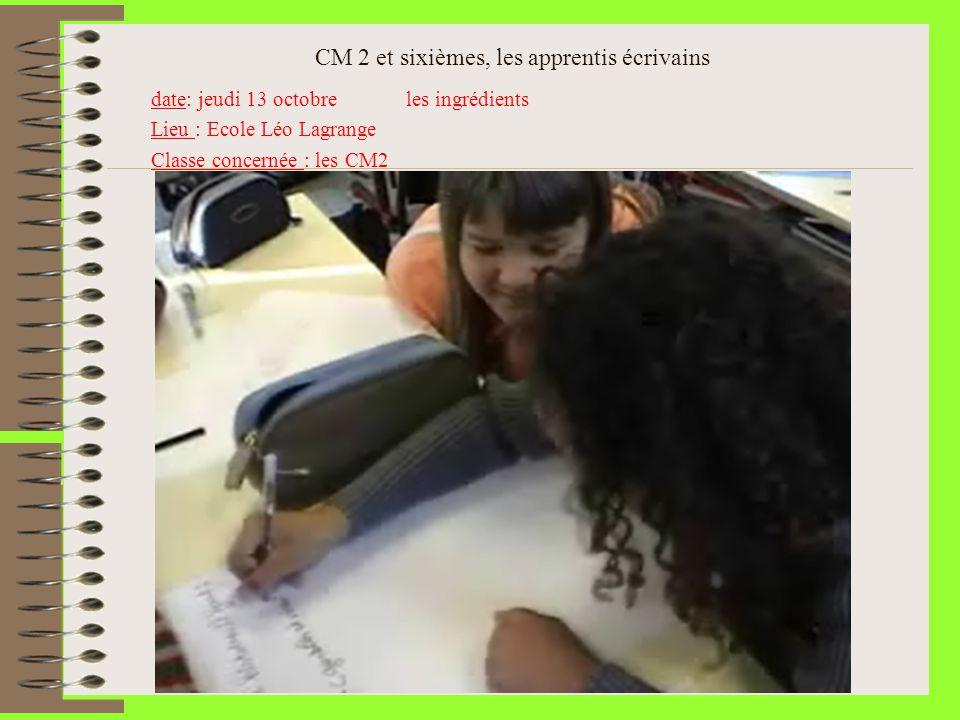 CM 2 et sixièmes, les apprentis écrivains date: jeudi 13 octobre les ingrédients Lieu : Ecole Léo Lagrange Classe concernée : les CM2