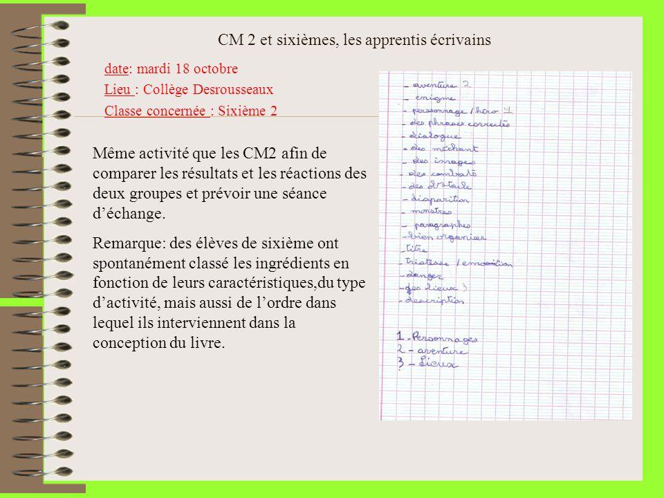 CM 2 et sixièmes, les apprentis écrivains date: mardi 18 octobre Lieu : Collège Desrousseaux Classe concernée : Sixième 2 Même activité que les CM2 af