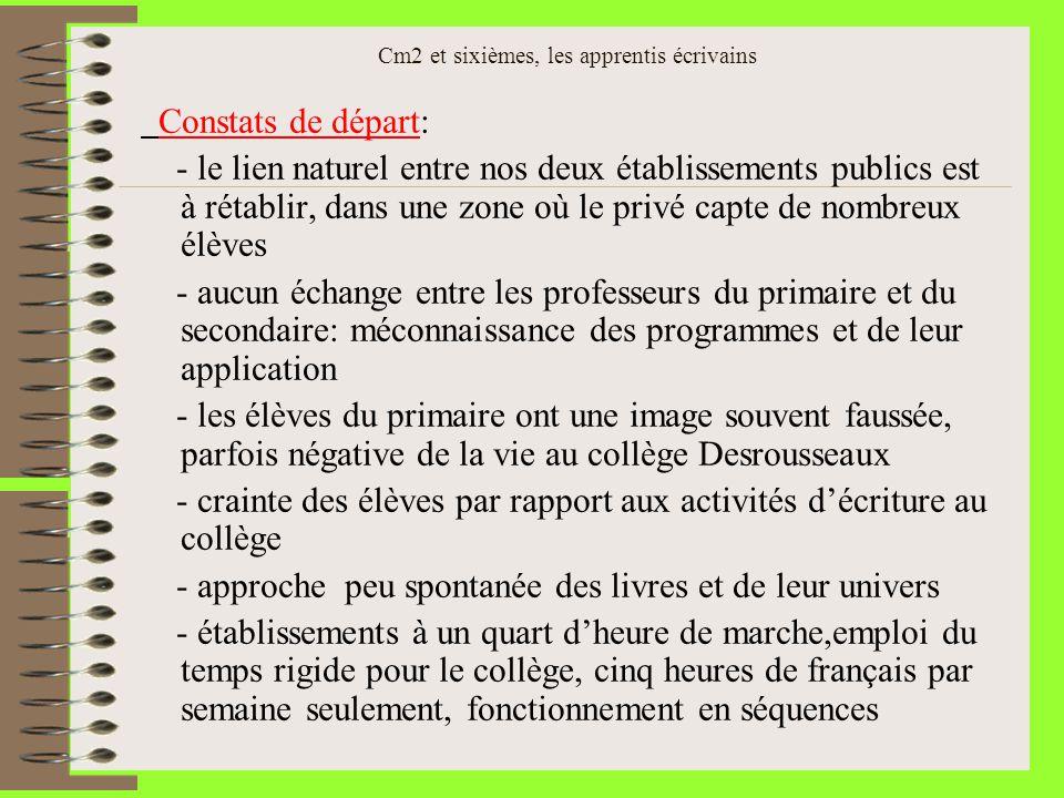 Cm2 et sixièmes, les apprentis écrivains Constats de départ: - le lien naturel entre nos deux établissements publics est à rétablir, dans une zone où