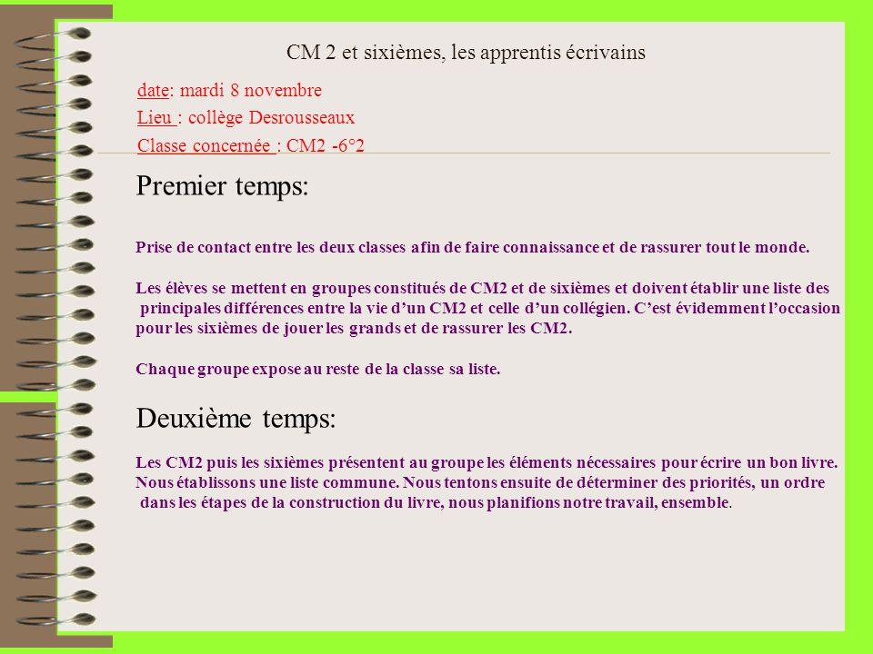 CM 2 et sixièmes, les apprentis écrivains date: mardi 8 novembre Lieu : collège Desrousseaux Classe concernée : CM2 -6°2 Premier temps: Prise de conta