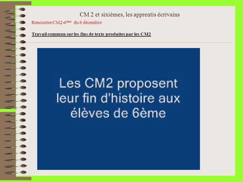 CM 2 et sixièmes, les apprentis écrivains Rencontre CM2-6 ème du 6 décembre Travail commun sur les fins de texte produites par les CM2