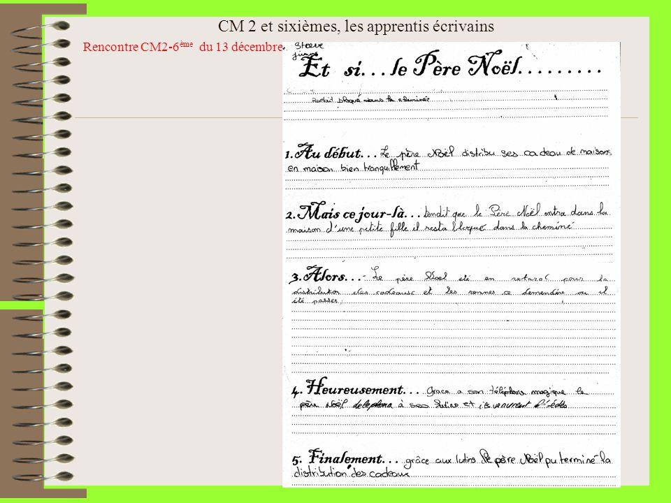CM 2 et sixièmes, les apprentis écrivains Rencontre CM2-6 ème du 13 décembre