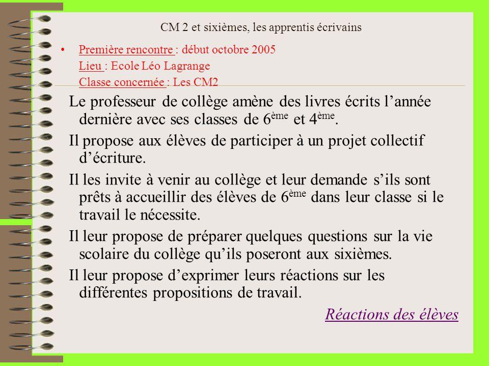 CM 2 et sixièmes, les apprentis écrivains Première rencontre : début octobre 2005 Lieu : Ecole Léo Lagrange Classe concernée : Les CM2 Le professeur d
