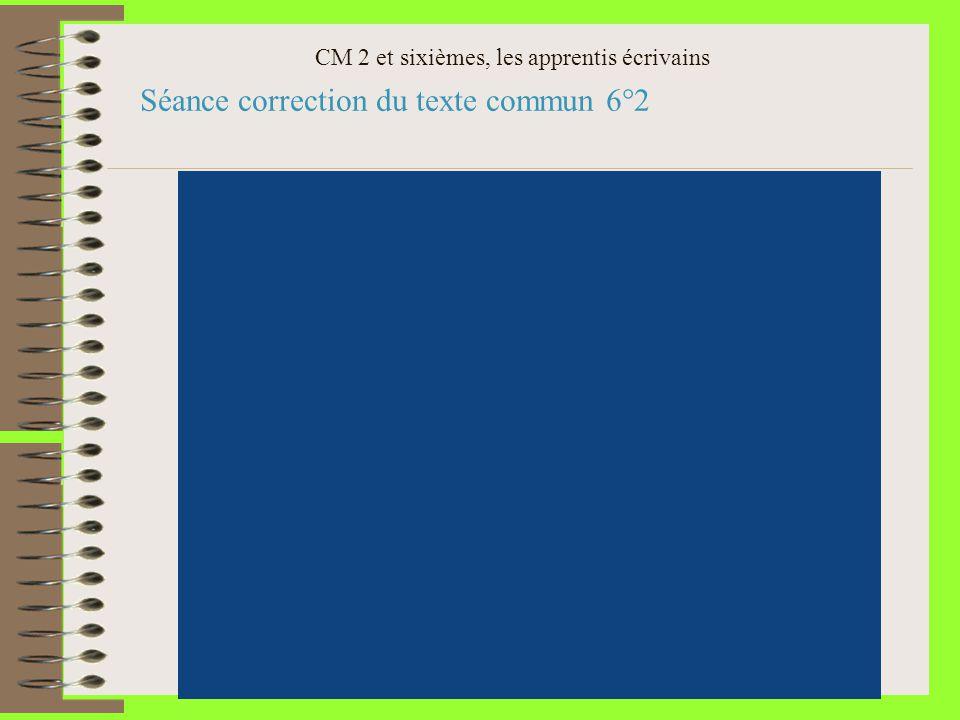 CM 2 et sixièmes, les apprentis écrivains Séance correction du texte commun 6°2