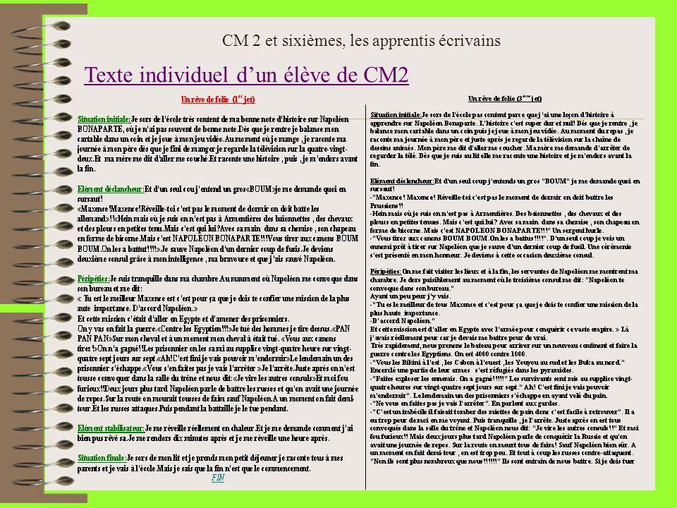 Texte individuel dun élève de CM2