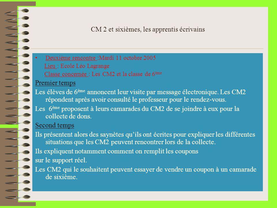 CM 2 et sixièmes, les apprentis écrivains Deuxième rencontre :Mardi 11 octobre 2005 Lieu : Ecole Léo Lagrange Classe concernée : Les CM2 et la classe