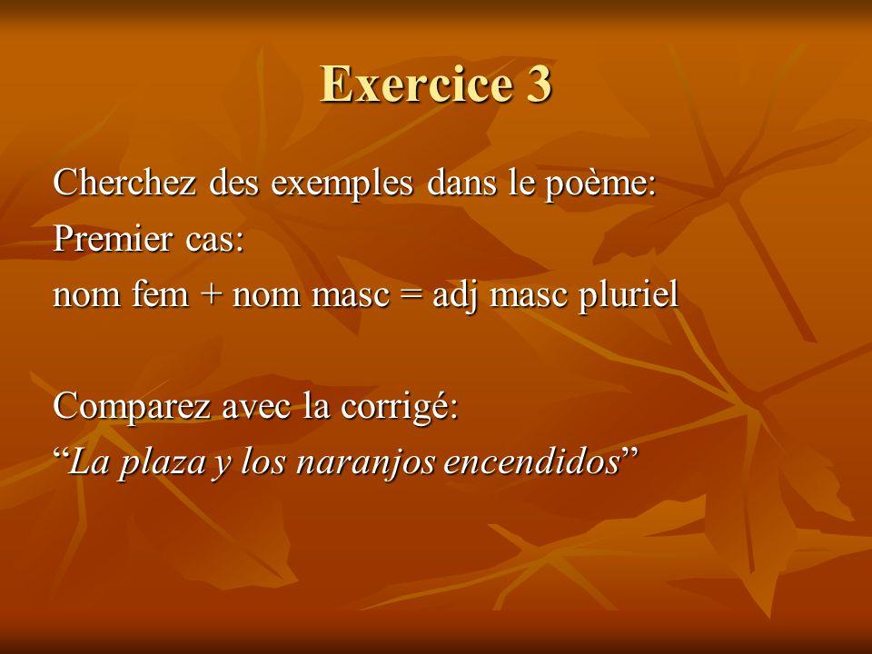 Exercice 3 Cherchez des exemples dans le poème: Premier cas: nom fem + nom masc = adj masc pluriel Comparez avec la corrigé: La plaza y los naranjos e