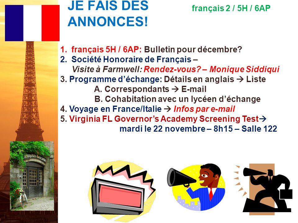 français 5H le 28 novembre 2011