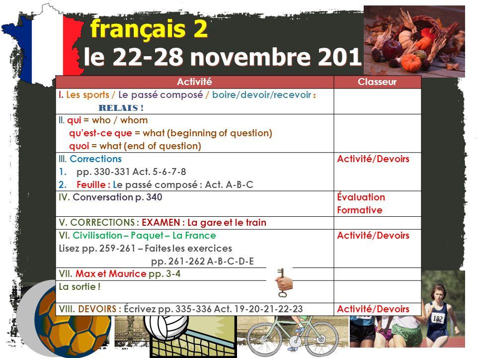 français 5H le 28 novembre 2011 ActivitéClasseur ÉCOUTONS et RÉPONDONS : Les 7 Merveilles http://www.tv5.org/TV5Site/7-jours/sequence.php?id_dossier=368&id_seq=851&num=3 I.JEU et Vérification: Le plus-que-parfait : p.