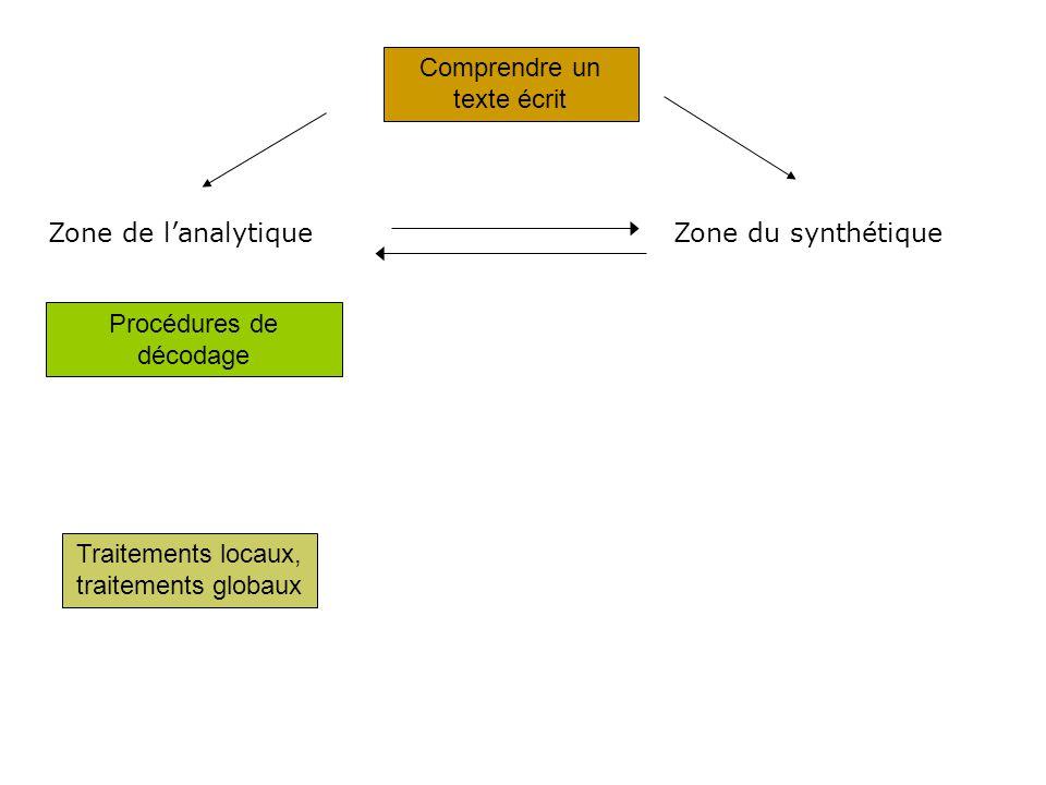 Comprendre un texte écrit Procédures de décodage Traitements locaux, traitements globaux Zone de lanalytiqueZone du synthétique