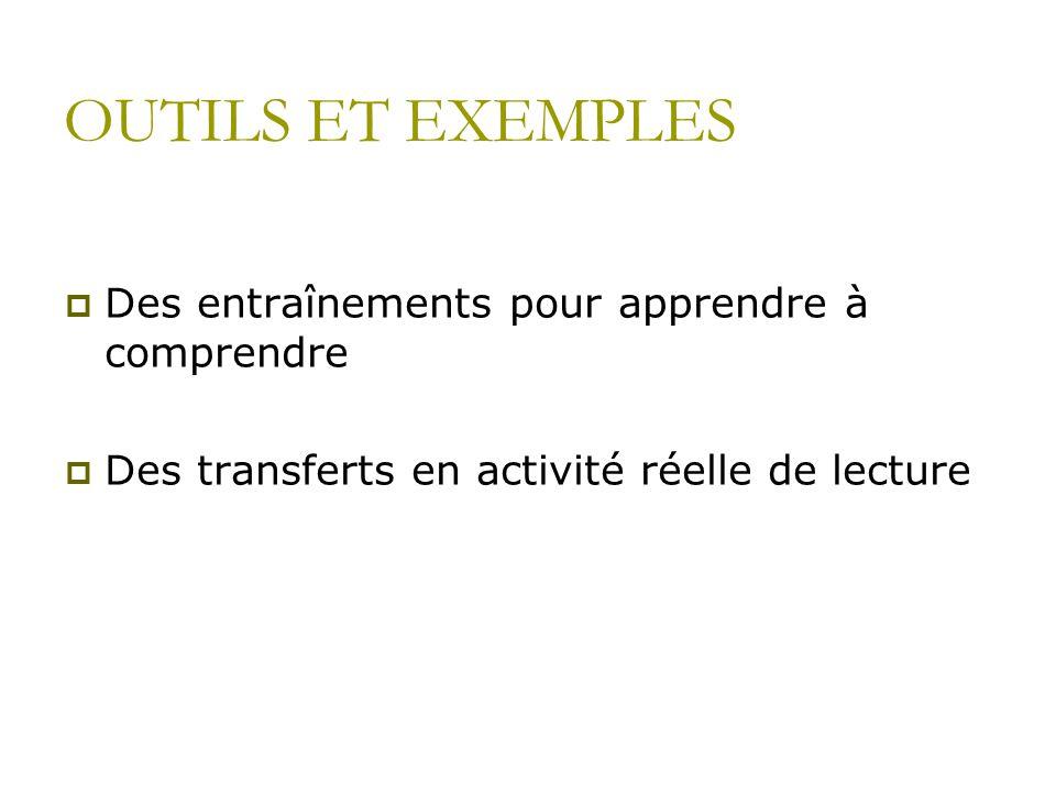 OUTILS ET EXEMPLES Des entraînements pour apprendre à comprendre Des transferts en activité réelle de lecture