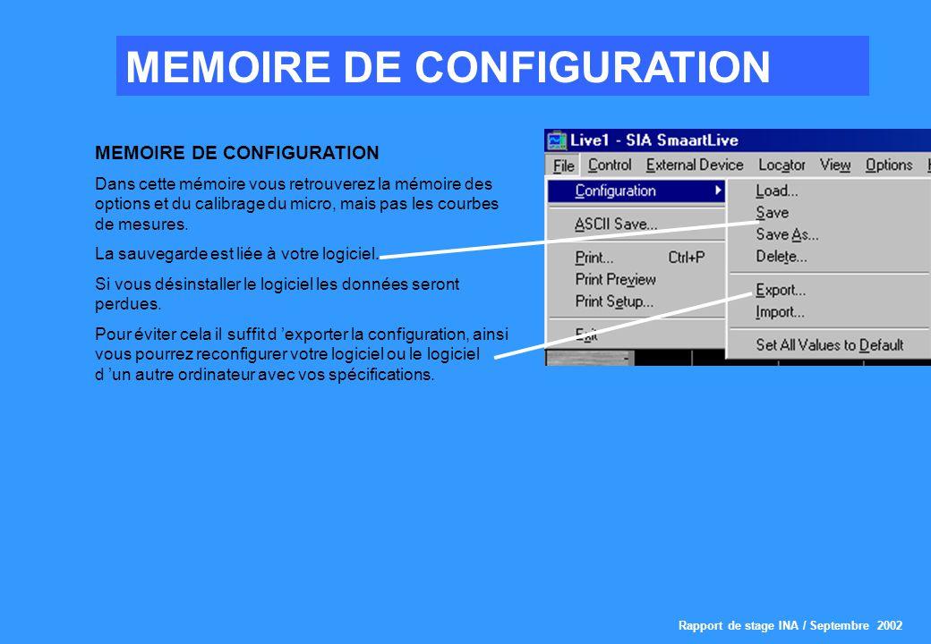 Rapport de stage INA / Septembre 2002 MEMOIRE DE CONFIGURATION Dans cette mémoire vous retrouverez la mémoire des options et du calibrage du micro, mais pas les courbes de mesures.