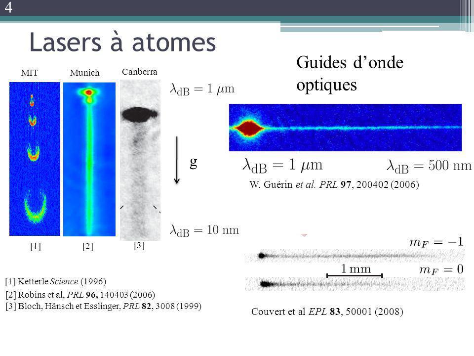 Lasers à atomes [3] Bloch, Hänsch et Esslinger, PRL 82, 3008 (1999) Couvert et al EPL 83, 50001 (2008) Guides donde optiques g W. Guérin et al. PRL 97