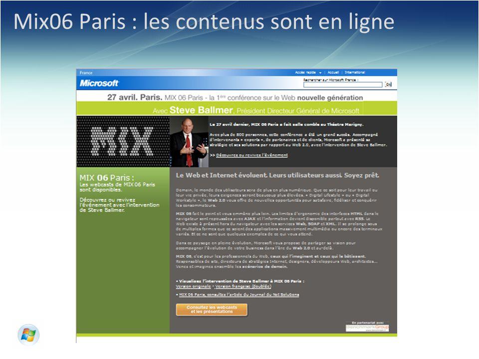 © 2006 Microsoft Corporation. Mix06 Paris : les contenus sont en ligne