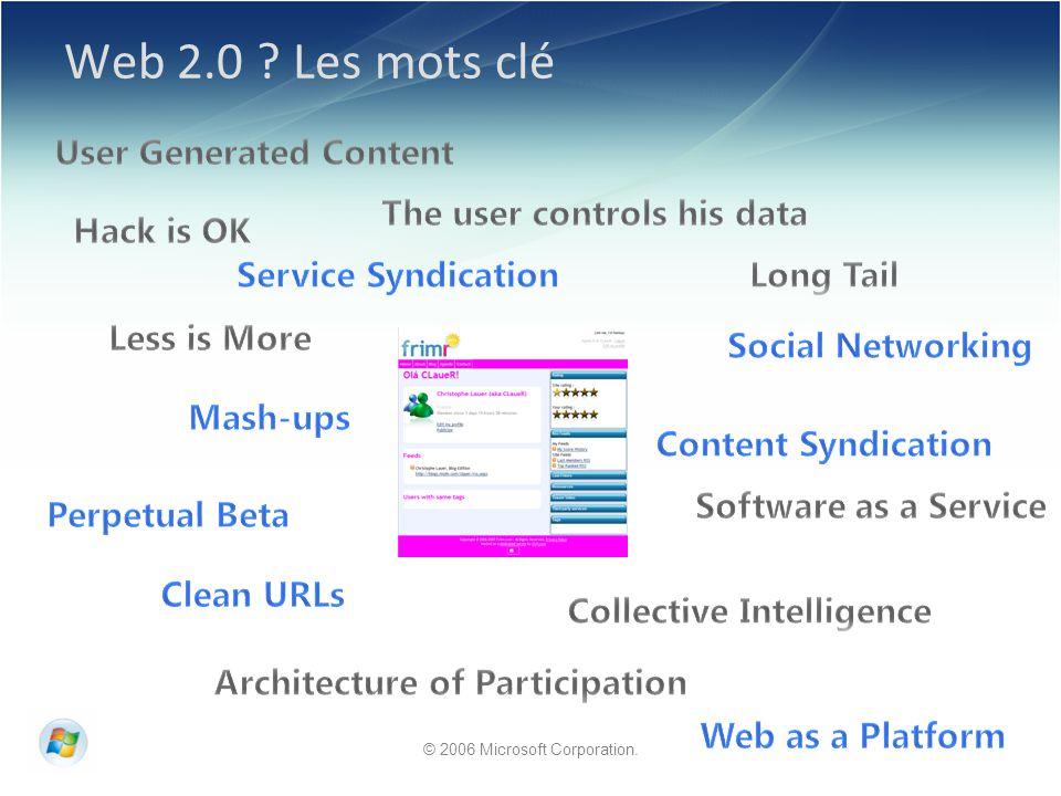 © 2006 Microsoft Corporation. Web 2.0 Les mots clé