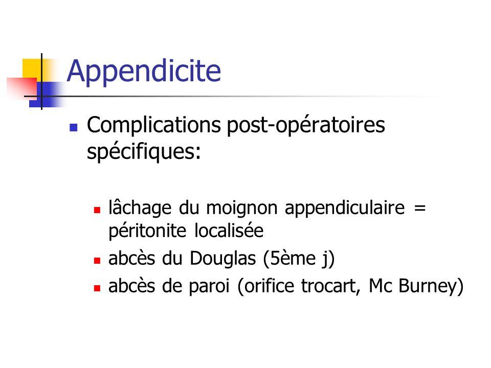 Complications post-opératoires spécifiques: lâchage du moignon appendiculaire = péritonite localisée abcès du Douglas (5ème j) abcès de paroi (orifice