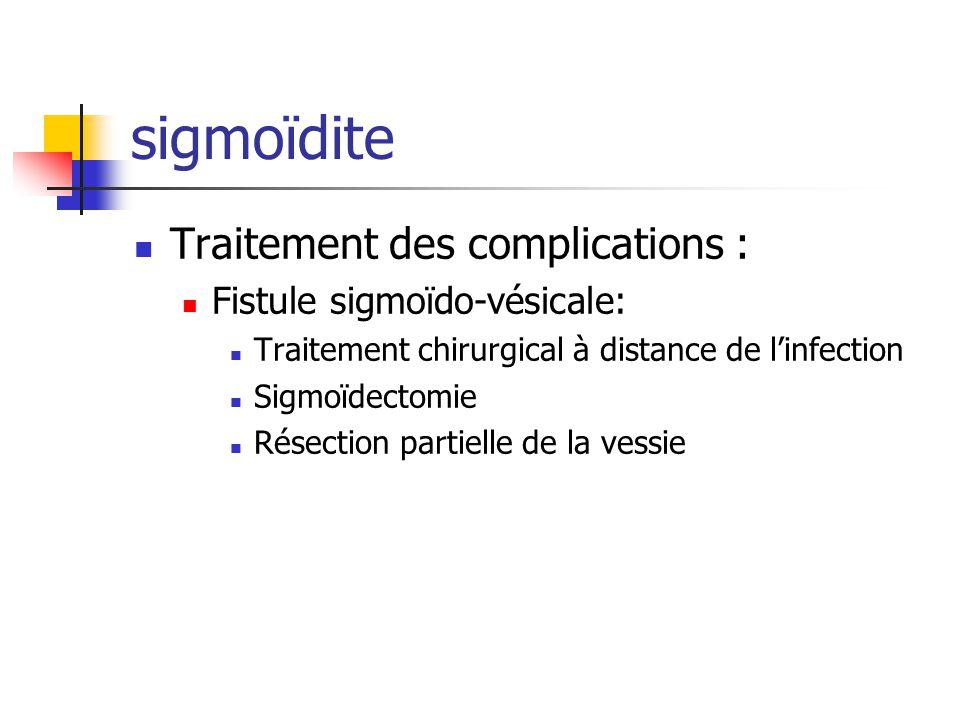 sigmoïdite Traitement des complications : Fistule sigmoïdo-vésicale: Traitement chirurgical à distance de linfection Sigmoïdectomie Résection partiell