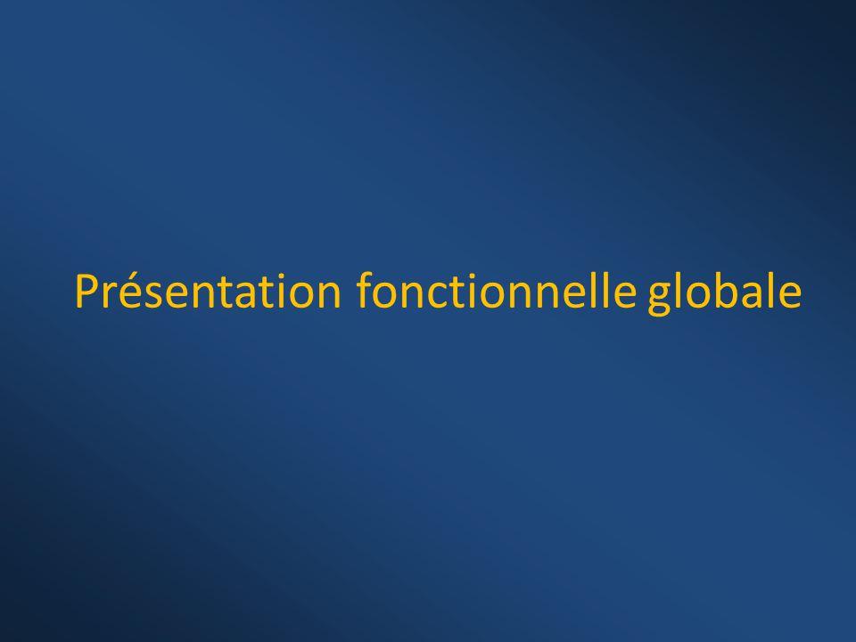 Présentation fonctionnelle globale