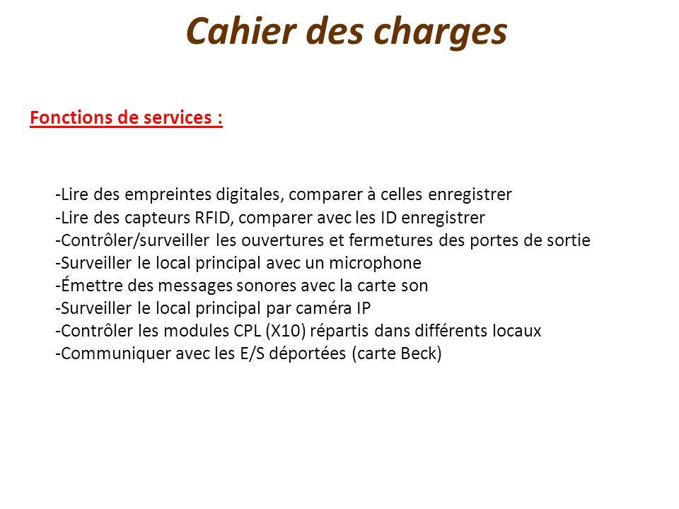 Cahier des charges Fonctions de services : -Lire des empreintes digitales, comparer à celles enregistrer -Lire des capteurs RFID, comparer avec les ID